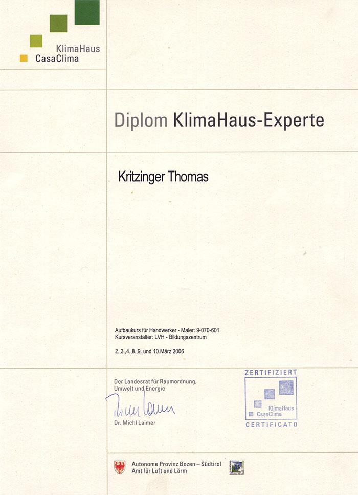 Klima Haus zertifiziert